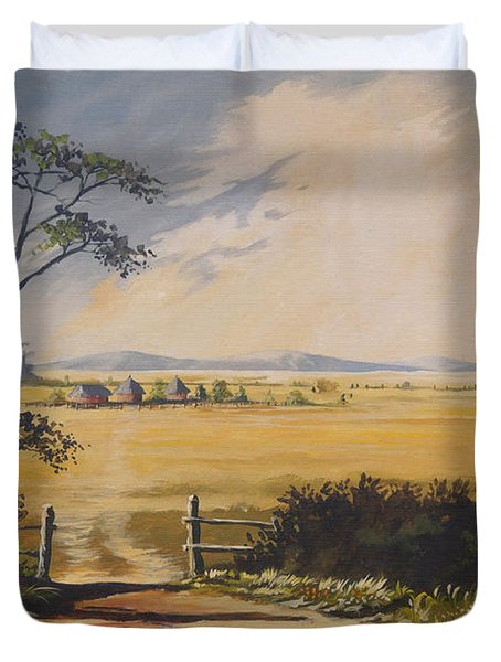 Duvet Cover featuring the painting My Way Home by Anthony Mwangi