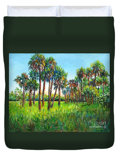 Duvet Cover featuring the painting Myakka Palms by Lou Ann Bagnall