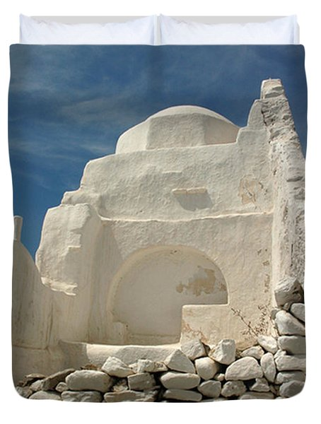 Duvet Cover featuring the photograph Mykonos Church by Vivian Christopher