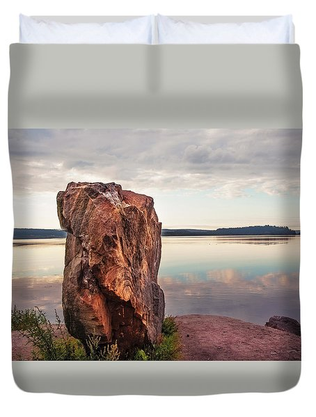 Mysterious Stone. Frontier In Between Old And New World Duvet Cover by Jenny Rainbow