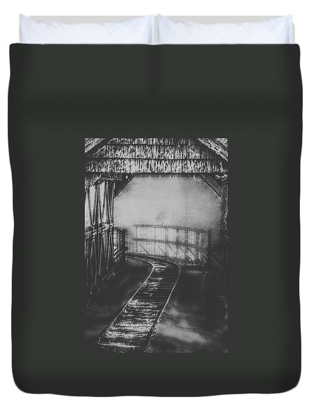 Mysterious Train Tracks Duvet Cover by Melanie Lankford Photography