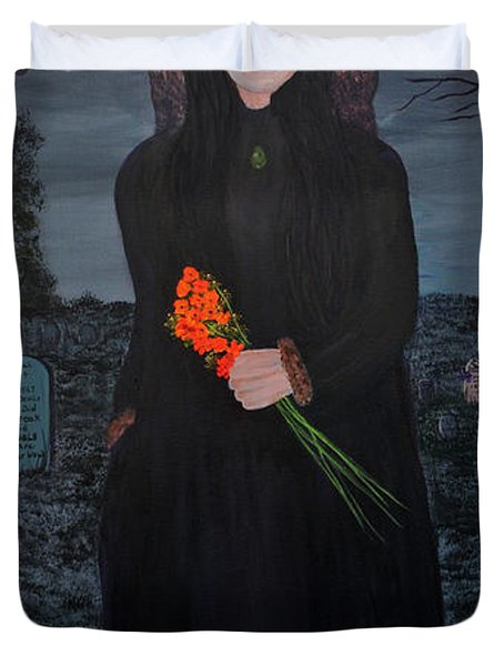 Duvet Cover featuring the painting Mystery by Myrna Walsh