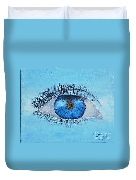 Duvet Cover featuring the painting Mystic Eye by Pamela  Meredith