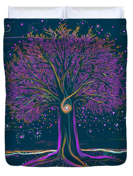 Mystic Spiral Tree 1 Purple Duvet Cover
