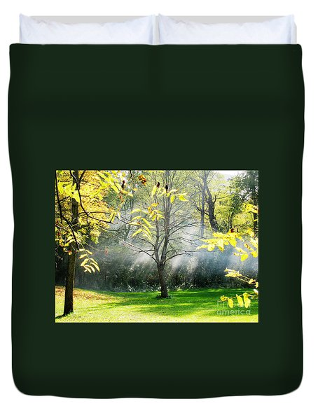 Duvet Cover featuring the photograph Mystical Parkland by Nina Silver