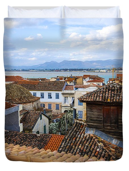 Nafplio Rooftops Duvet Cover