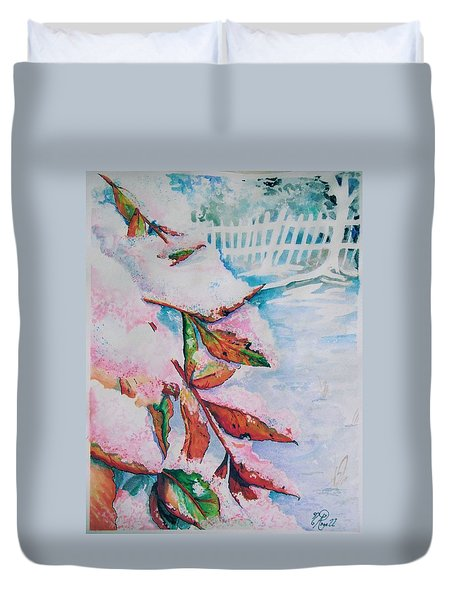 Nandina In Snow Duvet Cover
