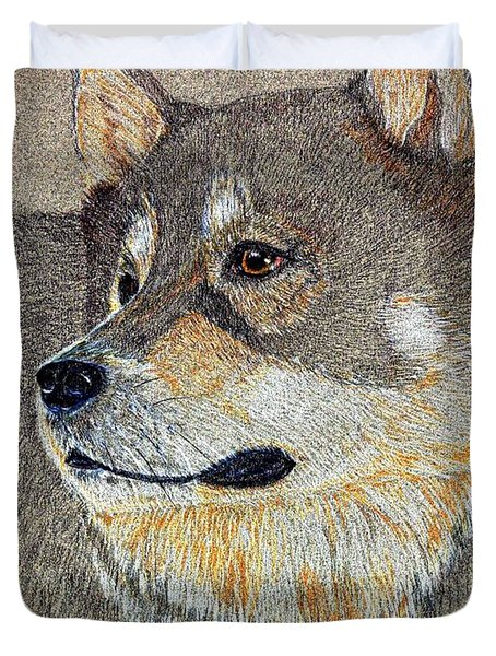 Duvet Cover featuring the drawing Nanook by Stephanie Grant