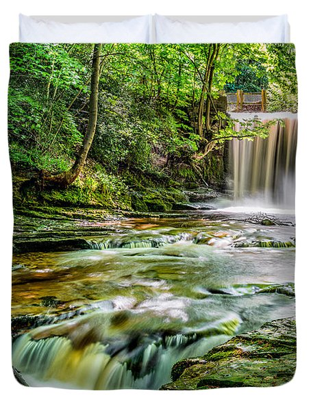 Nant Mill Waterfall Duvet Cover by Adrian Evans