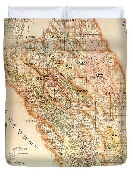 Napa Valley Map 1895 Duvet Cover