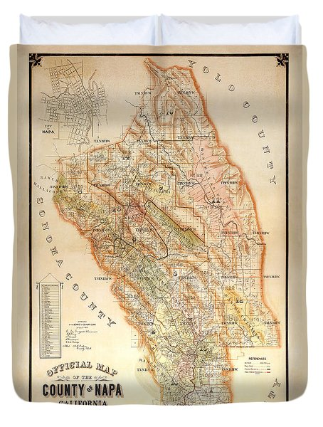 Napa Valley Map 1895 Duvet Cover by Jon Neidert
