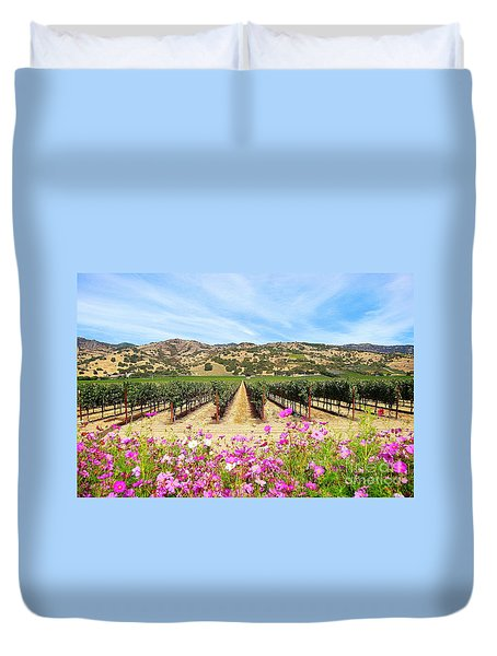Napa Valley Vineyard With Cosmos Duvet Cover