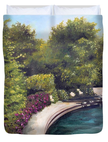 Duvet Cover featuring the painting Naperville Riverwalk II by Debbie Hart