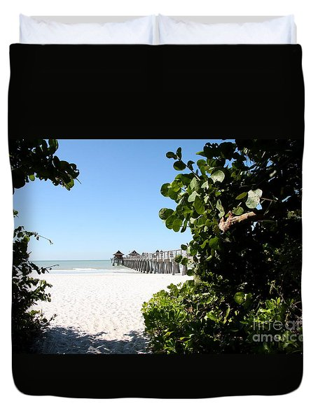 Naples Pier View Duvet Cover