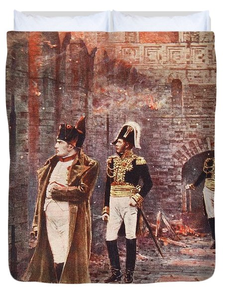 Napoleon Watching The Fire Of Moscow Duvet Cover by Nikolai Stepanovich Vereshchagin