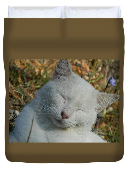 Duvet Cover featuring the photograph Napping Barn Cat by Kathy Barney