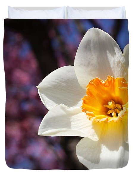 Narcissus And Cherry Blossoms Duvet Cover