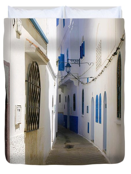Duvet Cover featuring the photograph Narrow Backstreet In The Medina Of Asilah On Northwest Tip Of Atlantic Coast Of Morocco by Ralph A  Ledergerber-Photography