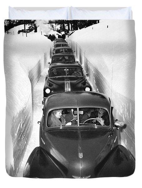 Narrow Winter Road Duvet Cover
