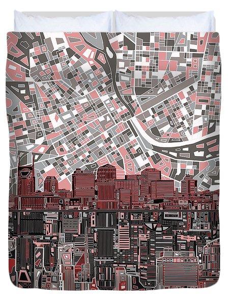 Nashville Skyline Abstract 3 Duvet Cover