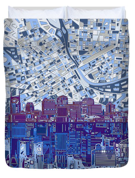 Nashville Skyline Abstract 8 Duvet Cover by Bekim Art