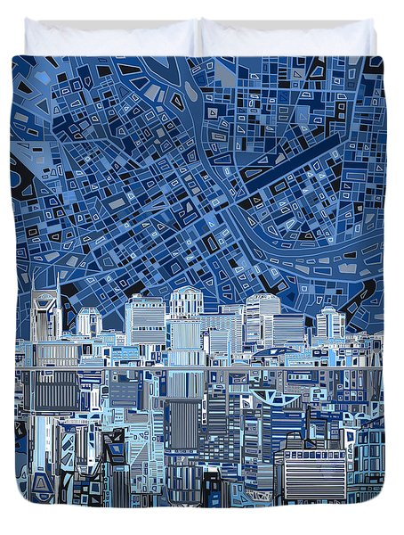 Nashville Skyline Abstract Duvet Cover by Bekim Art