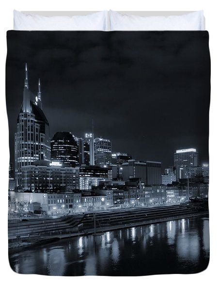 Nashville Skyline At Night Duvet Cover by Dan Sproul