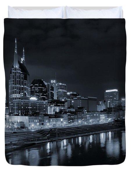 Nashville Skyline At Night Duvet Cover
