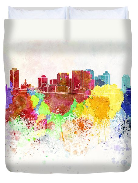Nashville Skyline In Watercolor Background Duvet Cover by Pablo Romero