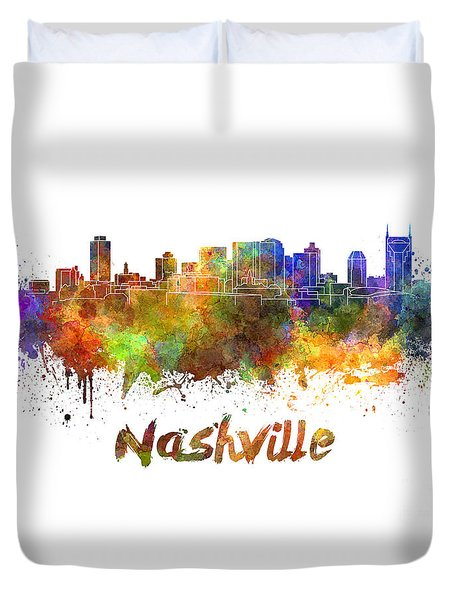 Nashville Skyline In Watercolor Duvet Cover by Pablo Romero