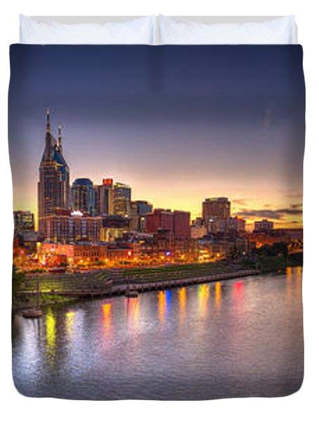 Nashville Skyline Panorama Duvet Cover by Brett Engle