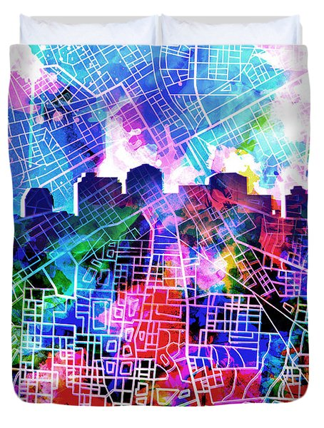 Nashville Skyline Watercolor 5 Duvet Cover by Bekim Art