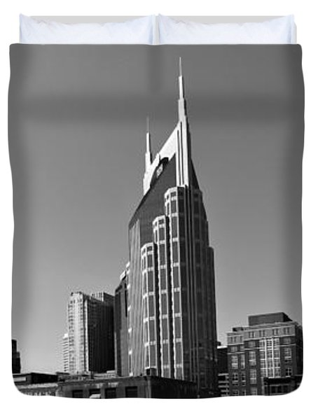 Nashville Tennessee Skyline Black And White Duvet Cover by Dan Sproul