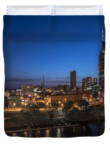 Nashville Tennessee With Pedestrian Bridge  Duvet Cover by John McGraw