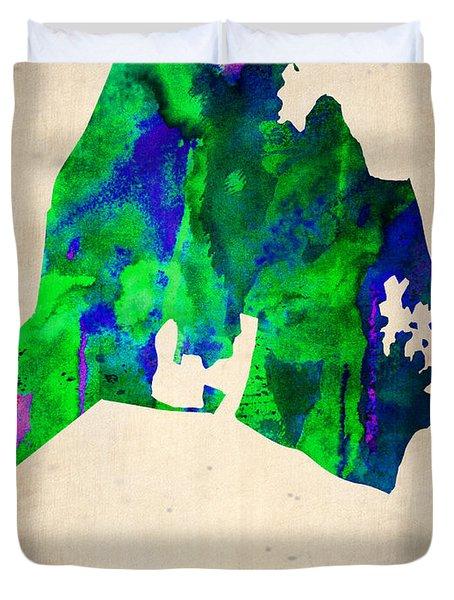 Nashville Watercolor Map Duvet Cover by Naxart Studio