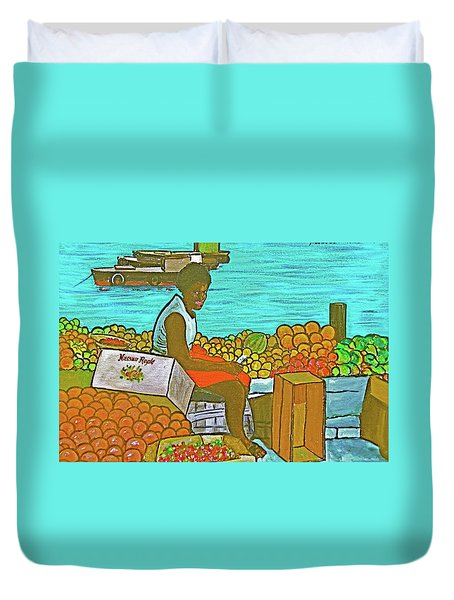 Nassau Fruit Seller Duvet Cover by Frank Hunter