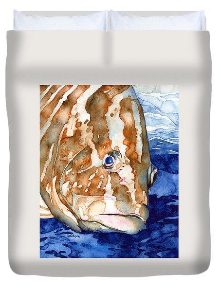 Nassau Grouper Portrait Duvet Cover
