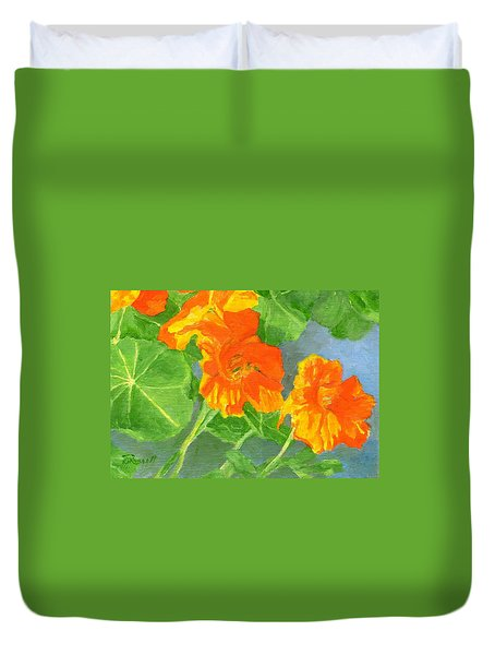 Nasturtiums Flowers Garden Small Oil Painting Duvet Cover