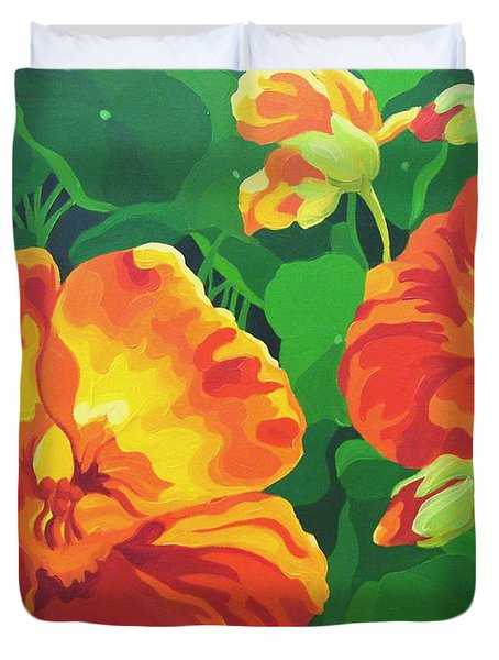 Duvet Cover featuring the painting Nasturtiums by Karen Ilari