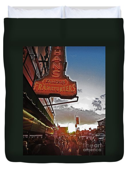Duvet Cover featuring the photograph Nathan's Famous Coney Island Sunset Frankfurters by Andy Prendy