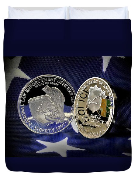 National Law Enforcement Memorial Mint Duvet Cover by Gary Yost