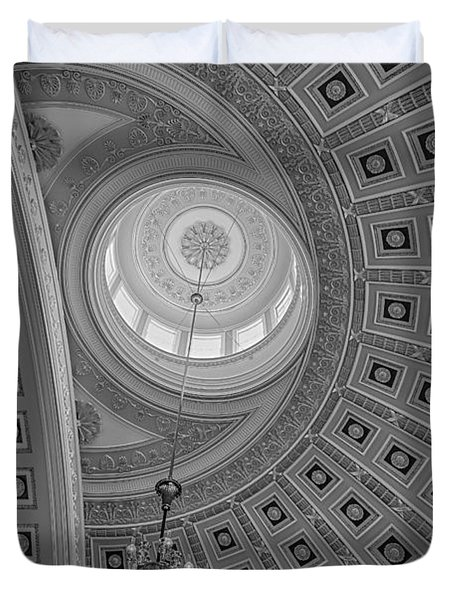 Duvet Cover featuring the photograph National Statuary Rotunda Bw by Susan Candelario