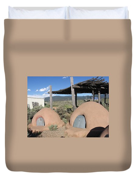 Duvet Cover featuring the photograph Native American Adobe Ovens In New Mexico by Dora Sofia Caputo Photographic Art and Design