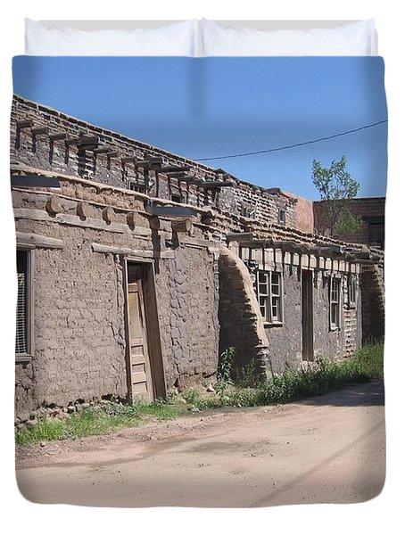 Duvet Cover featuring the photograph Native American Adobe Pueblo by Dora Sofia Caputo Photographic Art and Design