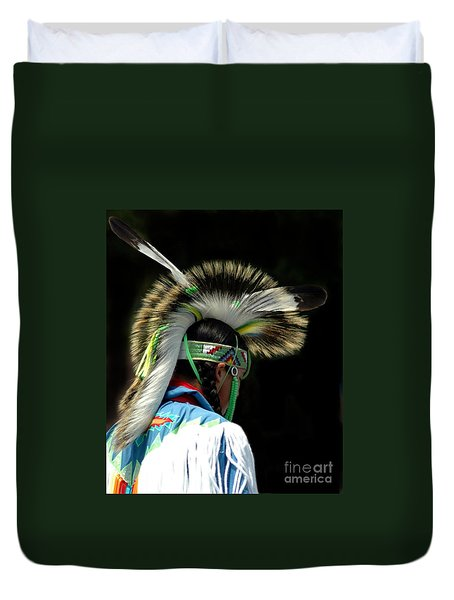 Native American Boy Duvet Cover by Kathleen Struckle