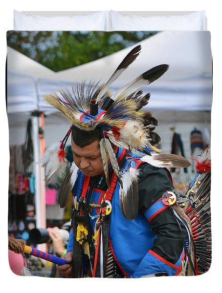 Duvet Cover featuring the photograph Native American Dancer by Kathy Baccari