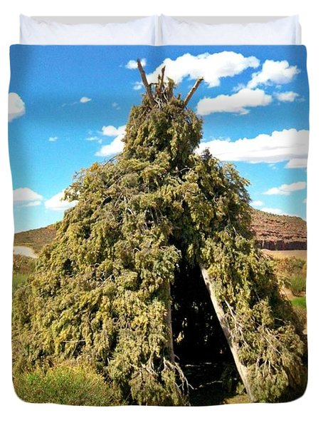 Native American Desert Cedar Lodge Duvet Cover by John Malone
