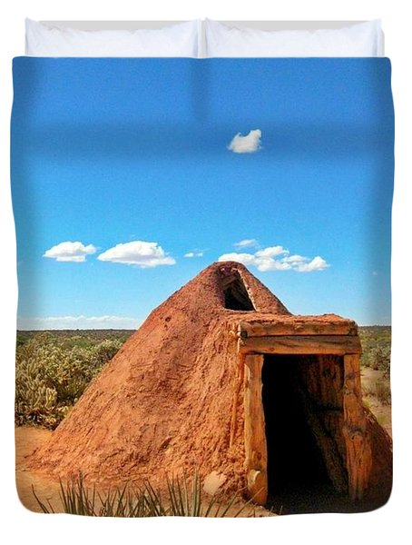 Native American Earth Lodge Duvet Cover by John Malone