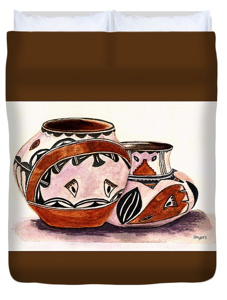 Duvet Cover featuring the painting Native American Pottery by Paula Ayers