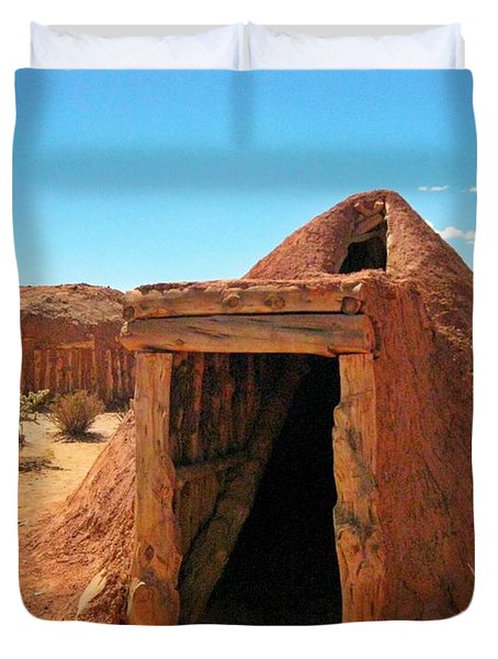 Native American Shelters Duvet Cover by John Malone